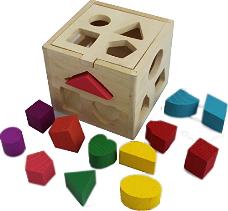 木製Shape Sorting Boxキューブ正方形Baby First Blocksおもちゃfor Montessori Preschool初期学習教育by peguco