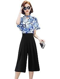 DRASAWEE(JP)レディース ファッション 2点セットアップ プリント シフォンシャツ ガウチョパンツ エレガント おしゃれ OL通勤 上下セット