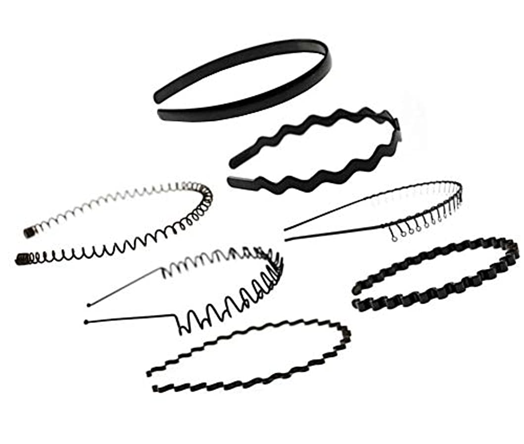もっと少なく衝突コース滴下7 PCSユニセックスブラックメタル/プラスチックヘアフープガールメンズヘアアクセサリー