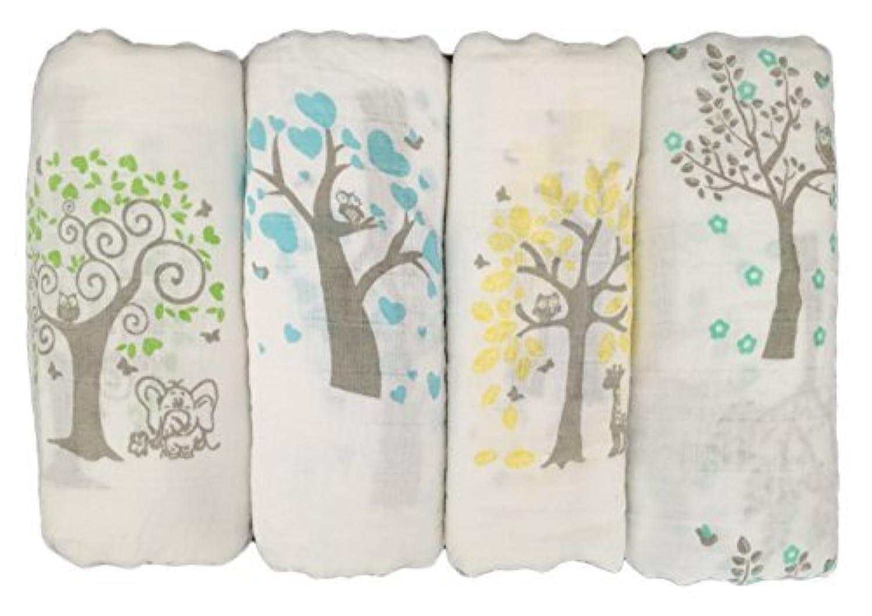 Seben Baby Muslin Swaddle Blankets 4 Pack - 100% Cotton - 47 inch x 47 inch (Tree Bird Owl) [並行輸入品]