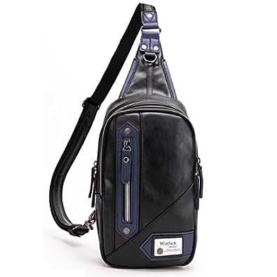 WinSun ショルダーバッグ 斜めがけバッグ ボディバッグ メンズ 3WAY 革製 レザー 撥水加工 通勤 軽量