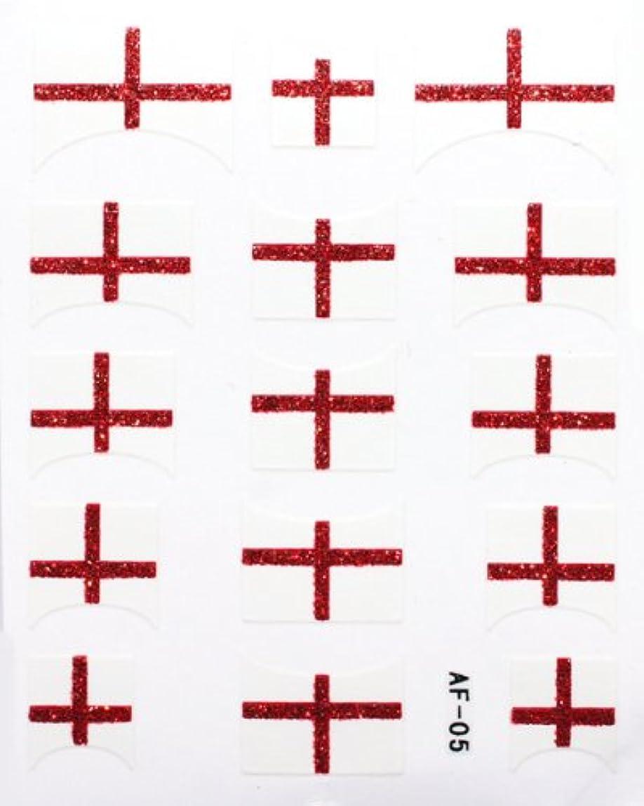 娯楽極小合唱団きらきら逆フレンチネイルシール イングランド国旗 AF05 貼るだけ ジェルネイルアート