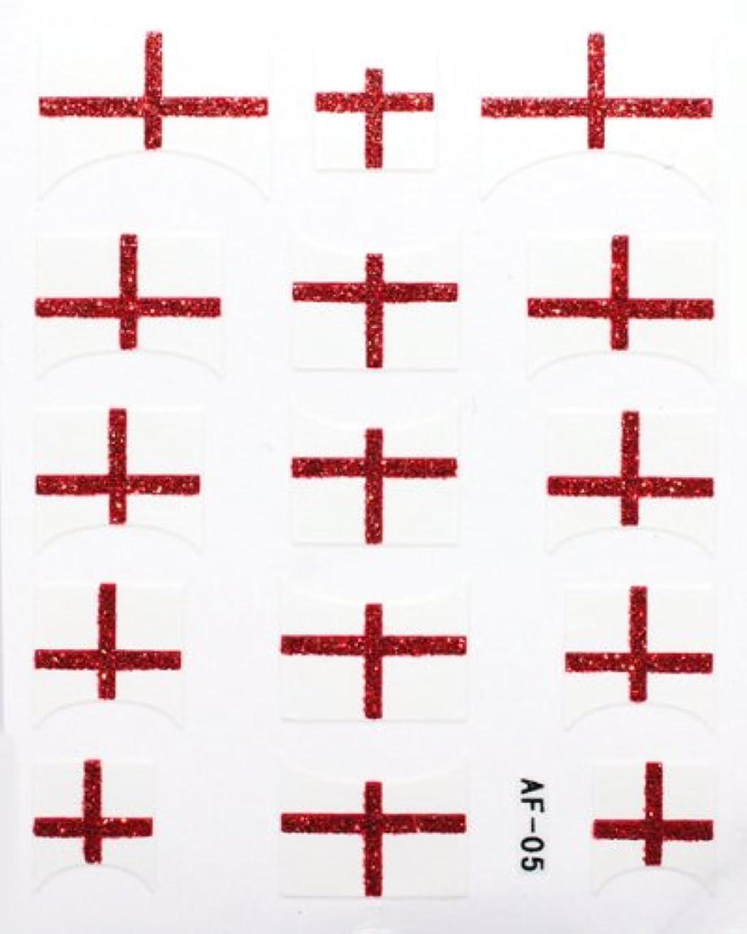 抵抗任意任命するきらきら逆フレンチネイルシール イングランド国旗 AF05 貼るだけ ジェルネイルアート