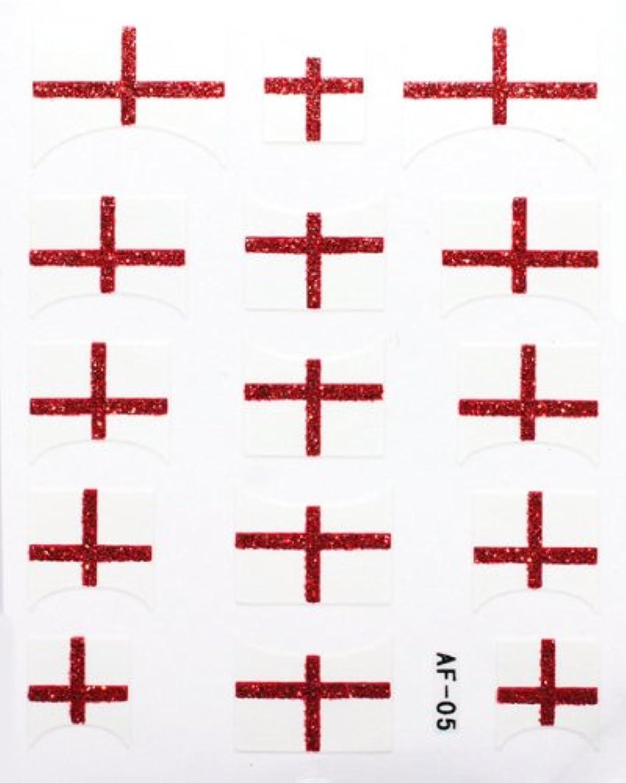 正義祖先科学きらきら逆フレンチネイルシール イングランド国旗 AF05 貼るだけ ジェルネイルアート