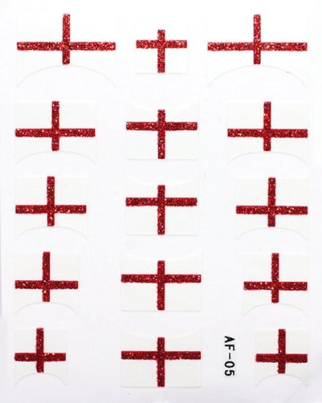 貧しいエジプト人送るきらきら逆フレンチネイルシール イングランド国旗 AF05 貼るだけ ジェルネイルアート