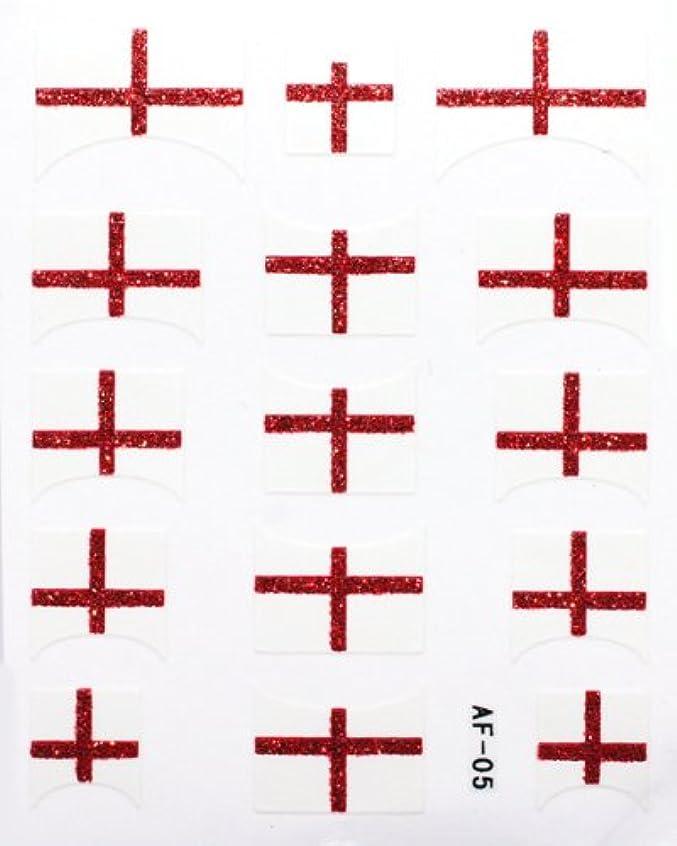 未満危険な慢性的きらきら逆フレンチネイルシール イングランド国旗 AF05 貼るだけ ジェルネイルアート