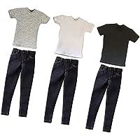Dovewill 3個セット 12インチ 男性アクションフィギュア対応  1/6スケール  男性  素敵な  半袖Tシャツ  デニムジーンズ  全3色