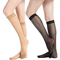 MANZI Women's 6 Pairs(70 Den) or 12 Pairs(20 Den) Ultra-Soft Knee High Socks