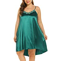 IN'VOLAND Womens Plus Size Nightgown Satin Sleepwear Spaghetti Straps Nightwear Chemises Lounge Sleep Dress