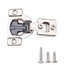 AmazonBasics Soft Close Cabinet Hinges, 1/2 Inch Overlay, Nickel Plated, 25-Pack
