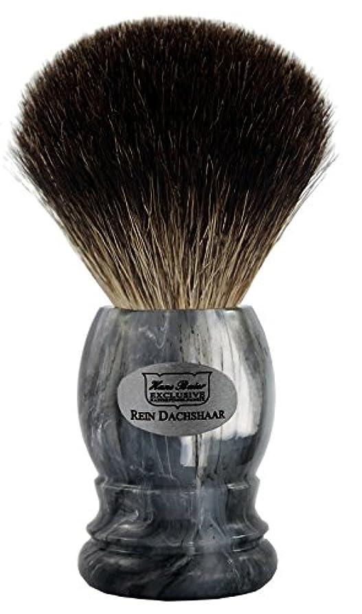 反響する法王手入れShaving brush grey badger, grey handle - Hans Baier Exclusive