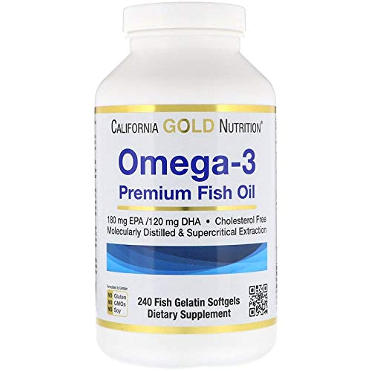 区画求人郵便物California Gold Nutrition Omega-3 Premium オメガ3 フィッシュオイル お買い得 240粒 X 2 パックFish Gelatin Softgels [並行輸入品] FjgH