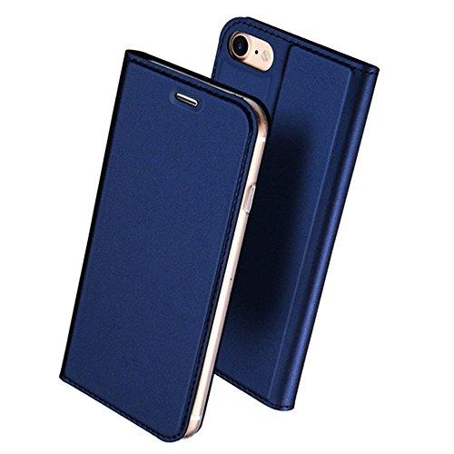 iPhone7ケース 手帳型 最高級PU レザー 肌のような手触り 耐汚れ 耐衝撃 スマホケース カード収納 マグネット スタンド機能 おしゃれ 人気 カバー (iPhone7 (4.7インチ), ブルー)