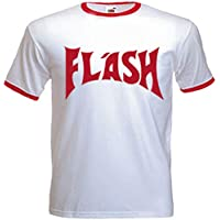 URBAN SHAOLIN Mens's Flash Gorden Inspired T Shirt, White with Red Trim