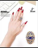 FLB-01 キラキラ上品なフリーサイズラインストーンリング 9色 (5# 青色)
