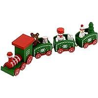 クリスマス木製トレイン、Cendaクリスマス木製おもちゃミニ卓上装飾キッズベビー木製クリスマスギフト Free QK0098670017