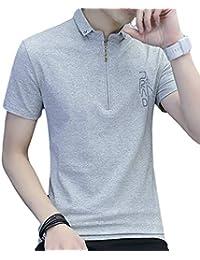 [meryueru(メリュエル)] チェストファスナー スキッパー tシャツ カジュアル 襟付き ポロシャツ 半袖 シャツ メンズ