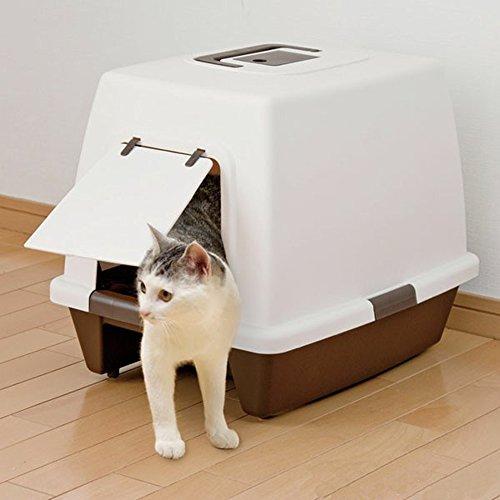 アイリスオーヤマ 砂落としマット付脱臭ネコトイレ ブラウン SN-520+ガッチリ固まってトイレに流せる猫砂 7L