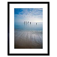 Photo Seascape Beach Pier Legs Ocean Ruin Sand Sky Framed Wall Art Print 写真海景ビーチ海洋砂壁