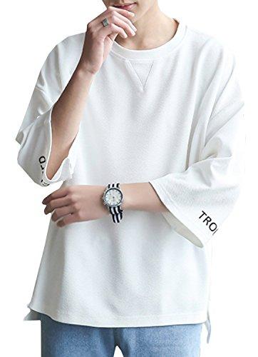Hisitosa メンズ tシャツ 五分袖 七分袖 無地 クルーネック カジュアル ゆったり 大きいサイズ スポーツ (ホワイト, L)