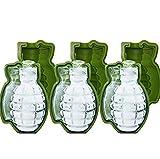 SOOKi 3ピースアイスキューブ金型、3d手榴弾形状シェイプシリコーンアイスキューブ金型クリエイティブアイストレイ金型冷凍庫ボックス..