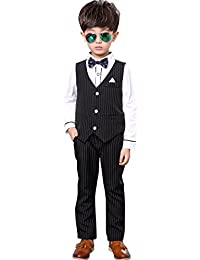 Emfay 男の子 フォーマル スーツ 子供用 ブラウス ベスト 蝶ネクタイ 入学式 結婚式 七五三 5点セット