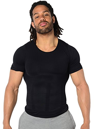 Trydea コンプレッションウェア 加圧インナー 加圧シャツ スポーツインナー 姿勢矯正 補正下着 (Medium, ブラック)