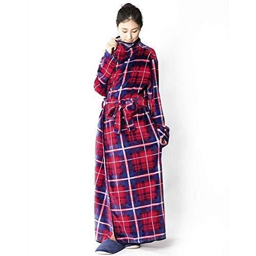 アイリスプラザ 着る毛布 fondan ルームウェア フランネルマイクロファイバー とろけるような肌触り 静電気防止 洗える Mサイズ 150cm丈 チェックレッド