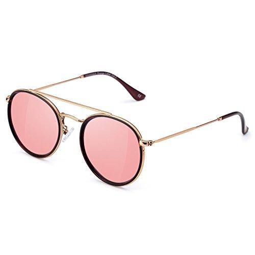 COLOSSEINレディースサングラス ピンク色ファッションメガネ 偏光サングラス 超軽量メガネ UVカット 紫外線カット 金属フレーム