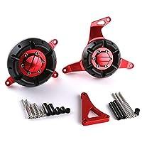 Ninja 300/250エンジン保護用オートバイアクセサリーモーターステーターカバーCNCアルミニウムクラッシュ保護クラッシュパッドクラッシュパッドフレームスライダープロテクター - 1ペア,赤