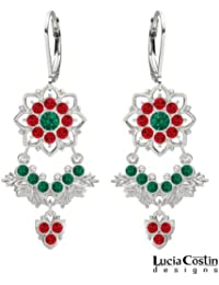 .925 Sterling Silver Chandelier Earrings by Lucia Costin with Green, Red Swarovski Crystals and Dots, Adorned...