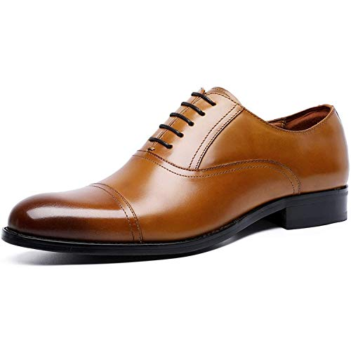 [ロムリゲン] ビジネスシューズ メンズ 革靴 本革 高級紳士靴 内羽根 ストレートチップ ブラウン 25.5cm 6720-13
