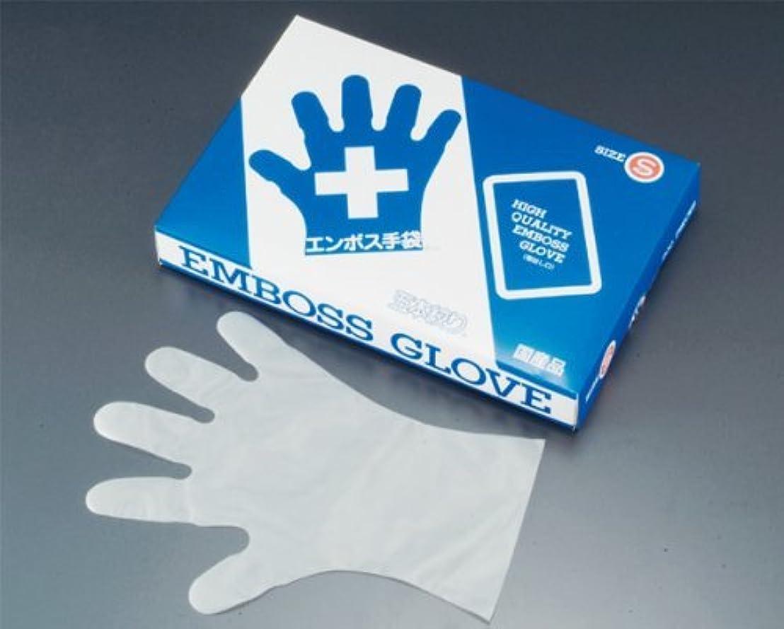 六鮫影響力のあるエンボス 手袋 #30 化粧箱(五本絞り)180枚入 L 30μ