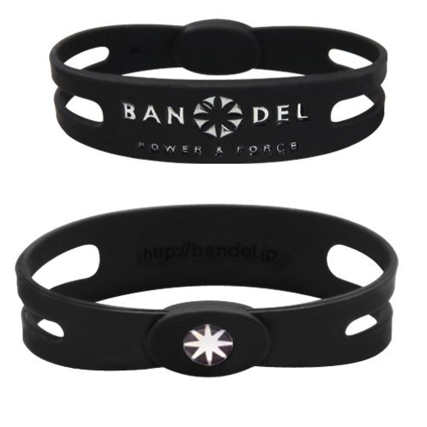 談話スポット後継バンデル(BANDEL) メタルプレート スポーツギア シリコンブレスレット(ブラック×シルバー) Sサイズ