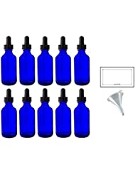 2 oz Cobalt Blue Glass Boston Round Dropper Bottle (10 pack) + Funnel and Labels for essential oils, aromatherapy...