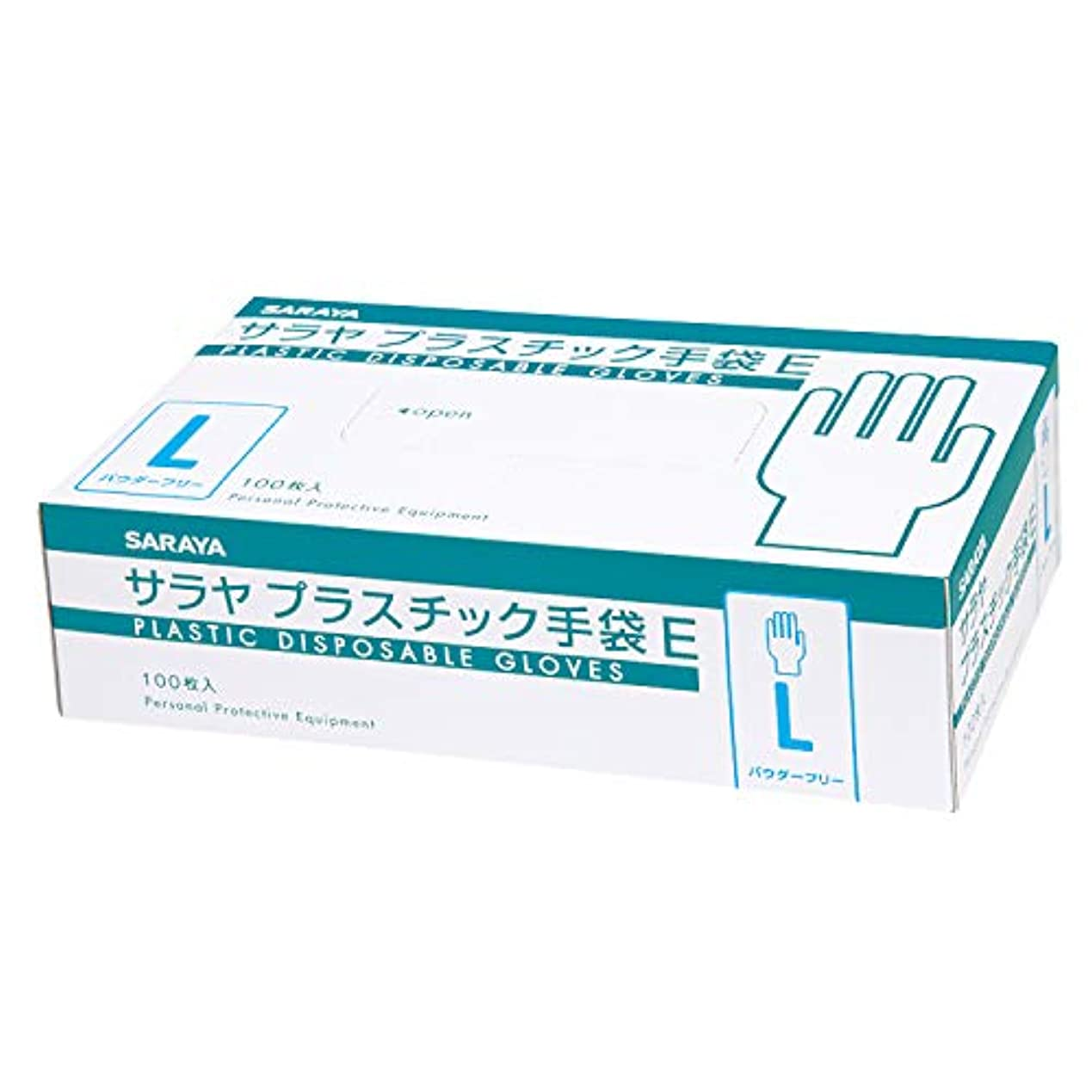悪性の構造ヒープサラヤ 使い捨て手袋 プラスチック手袋E 粉なし Lサイズ 100枚入