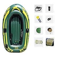 2人用インフレータブルカヤックセット、インフレータブルボート、アルミオール、ビーチ、ラフティング、サーフィンアングラー、レクリエーション用ハンドポンプ-グリーンサイズ:190x98x32cm (Color : Green-B)