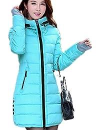 Tisatee-JPレディース冬ダウンジャケット 厚手フード付きロングダウンコート 軽量防寒服