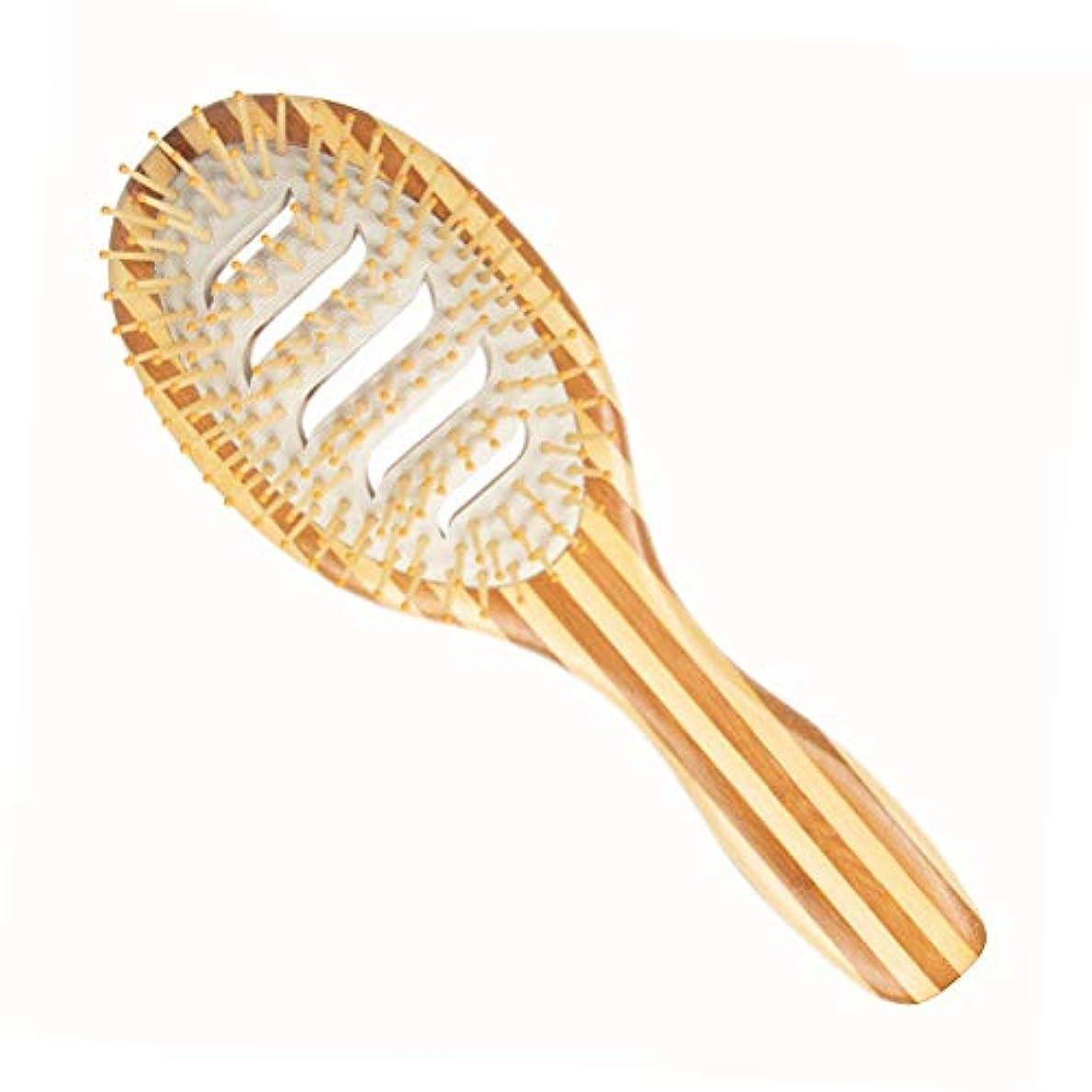 検査官避ける特徴Healifty 女性男性子供のための竹マッサージ頭皮の櫛のシマウマのストライプのもつれを解消するヘアブラシ