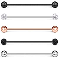 Ruifan 5PCS 16G Mix Color Crystal Ball Stainless Steel Industrial Barbell Earring Cartilage Body Piercing Jewelry 1 1/2 Inch(38mm) - Style 1#