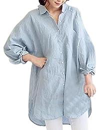(オユオマ) oyuoma ゆったり 大人 可愛い バック ボタン ロング チュニック丈 シャツ ワンピース レディース