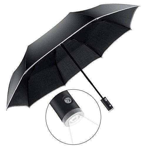 VLOXO 折り畳み傘 ワンタッチ 自動開閉 雨傘 LED懐中電灯付き 三段折り雨具 収納31cm 晴雨両用 軽量 8本骨 片手操作 夜間対応 耐風撥水 丈夫 梅雨対策 男女兼用 収納ポーチ付き ブラック