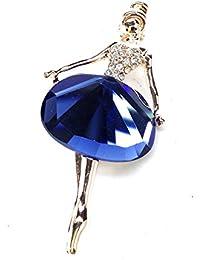 キラキラ スタイルの 美しい バレリーナ ブローチ サファイヤブルー