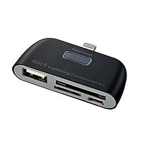 サンワダイレクト iPhone・iPadカードリーダー iPhone 6s/6s Plus・iPad Pro/Air 2/mini 4対応 Lightningコネクタ ブラック 400-ADRIP07BKN