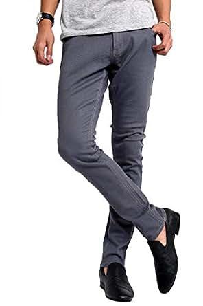 インプローブス チノパン ストレッチ スリム スキニー ストレッチパンツ スキニーパンツ カラーパンツ ズボン メンズ グレー XS サイズ
