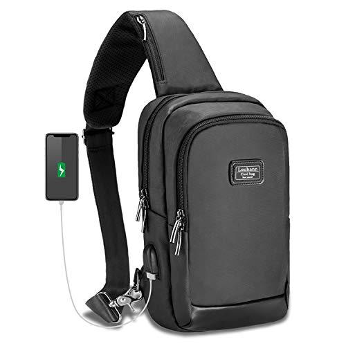 Luuhann ボディバッグ メンズ 大容量 防水 usbポート付き肩掛けバッグ iPad収納可...