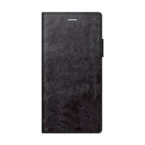 エレコム ZenFone 4 ソフトレザーカバー 磁石付 ブラック PM-ZN4PLFYBK