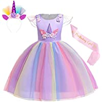 Cotrio Unicorn Costume Dress Pageant Party Dresses Flower Evening Gowns Halloween Tutu Dress