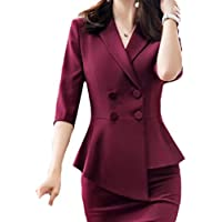 neveraway Women's Fitted Fashion Office Various Hem Double-Breasted Jacket Blazer