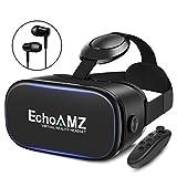 EchoAMZ 3D VRゴーグル 「イヤホン、Bluetoothコントローラ、日本語説明書付属」 (ブラック)